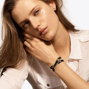 Tory Burch For Fitbit Black leather Wrap Bracelet